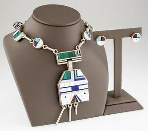 Exquisite Harold Smith Zuni Inlay Sterling Silver Necklace and Earrings Set