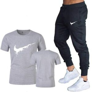 Hot-Sale-Summer-2020-Nike-Logo-Men-039-s-2-Pcs-Set-Casual-Suits-Gym-Cotton-Branded
