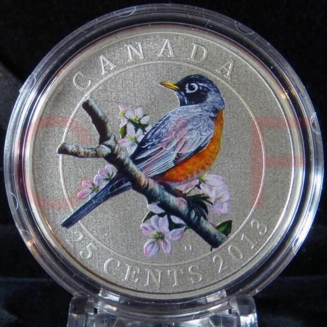 2013 - Canada - Birds of Canada #11 - American Robin - 25 cent Coloured Coin