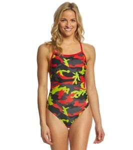 SPEEDO-Women-039-s-Girl-039-s-Camo-Squad-Flyback-One-Piece-Competition-Swimsuit
