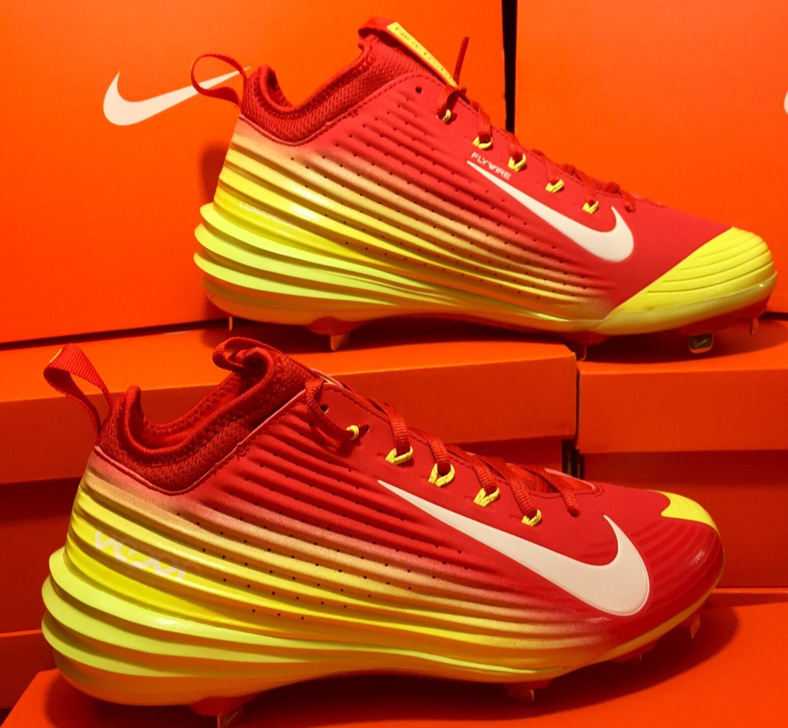 NIKE LUNAR VAPOR TROUT BASEBALL CLEATS RED VOLT WHT SZ 9,10,11.5 FREE SHIPPING