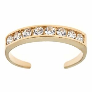 10k-Solid-Gold-Eternity-Band-Cz-Toe-Ring-Channel-Set-Adjustable-Body-Jewelry