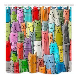 NYMB Cartoon Cat Lover Shower Curtain, Funny Animals Kitten Decor for Kids,