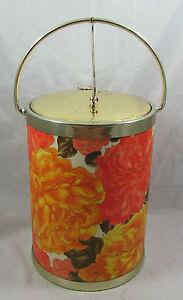 Vintage Orange Floral Insulated Ice Bucket Mid-Century Retro Barware