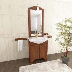 Mobile bagno classico arte povera con lavabo in ceramica - Mobiletto con specchio per bagno ...
