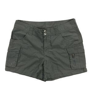 Columbia-4-034-Inseam-Womens-12-Gray-Ripstop-Cargo-Hiking-Camping-Shorts
