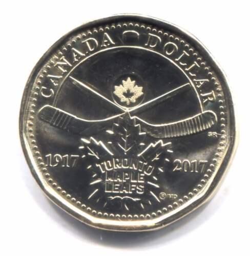 100th Anniversary Canada 2017 Canadian Maple Leafs Hockey One Dollar Coin