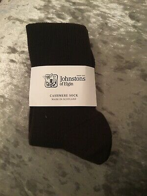 Johnstons of Elgin Cashmere Bed Socks Knitted in Hawick,Scotland,black rrp35