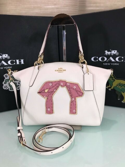 69d03563 Coach F28972 Small Kelsey Satchel Bag With Floral Bundle Print Pink Bow