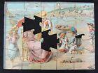 Ancien puzzle sur le thème du bord de mer enfant à la pêche fin XIX- début XXème
