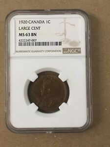 Canada Canadian Large Cent Penny George V NGC MS 63 1920 Rare