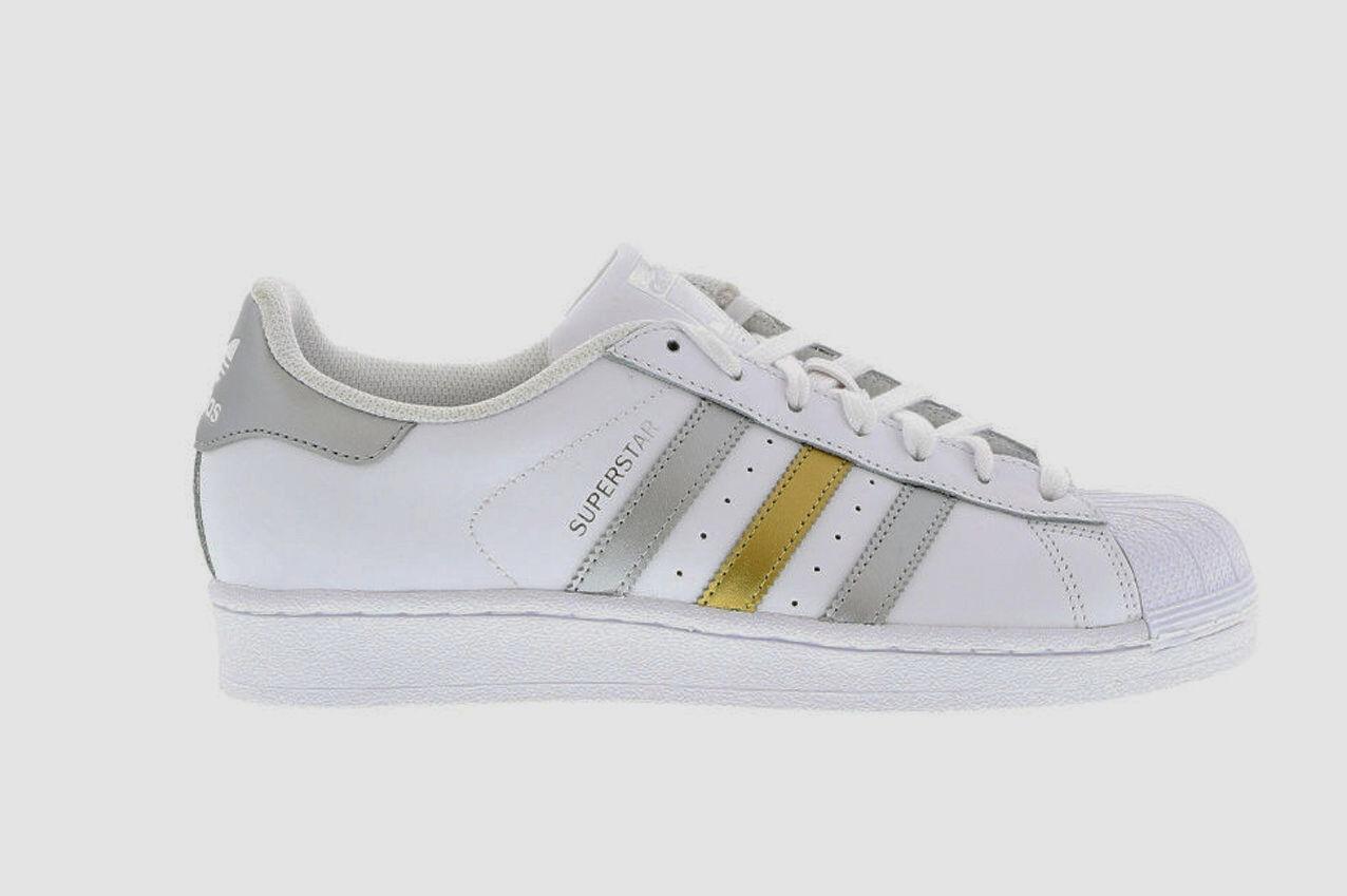 Original adidas Superstar  blanco o metálico cuero plata oro entrenadores de cuero metálico BB4882 b667eb