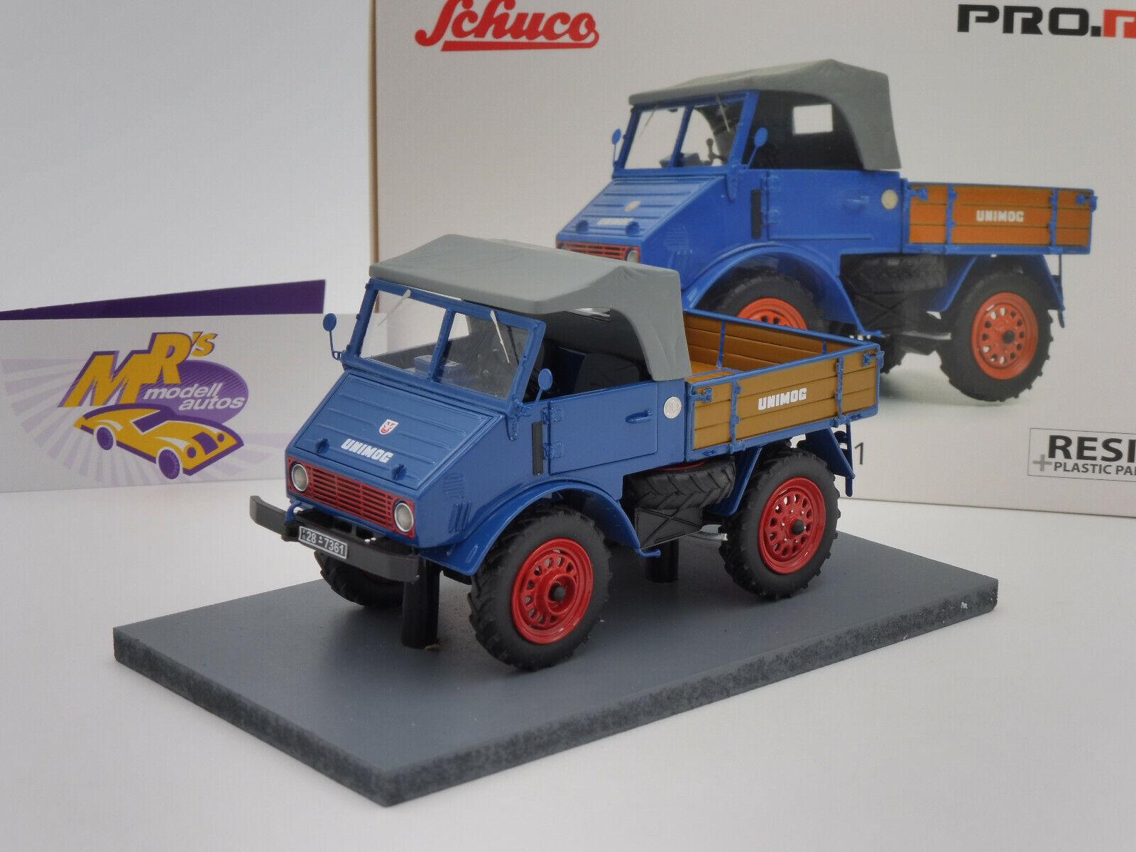 Schuco PRO.R 09003   Unimog 401 Holzpritsche Baujahr 1953 in   blau   1 32 NEU