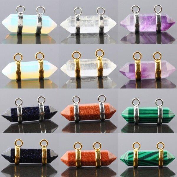 Prism Gemstone Pendant Connectors Pendant Charms Healing Reiki Fit Necklace