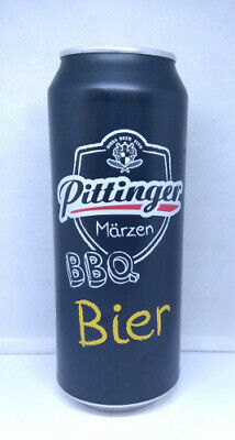 Empty Pittinger BBQ Beer can; 500 ml BOTTOM opened 16.9 fl oz Austria