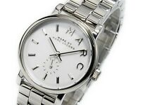 NEW MARC JACOBS BAKER WHITE DIAL STAINLESS STEEL LADIES WATCH MBM3242