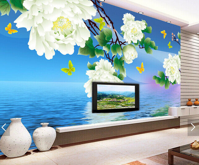 3D Peony Water 522 Wallpaper Murals Wall Print Wallpaper Mural AJ WALL AU Kyra
