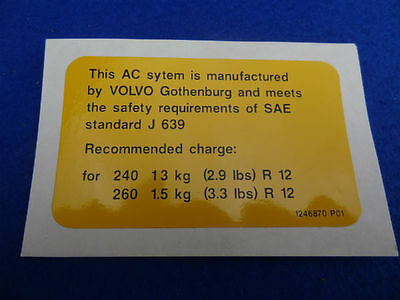 VOLVO CLASSIC 240 260 AIR CONDITIONING DECAL STICKER