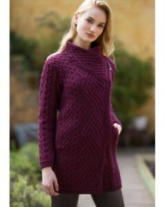 Women-s-Wine-Cable-Knit-Side-Zip-Aran-Coat-Z4631-Merino-Wool-Made-in-Ireland