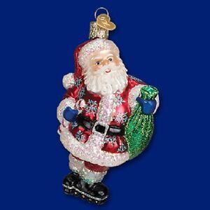 """Rollerblading Santa"" Old World Christmas Glass"