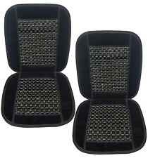 Set of 2 Therapeutic Natural Real Wooden Bead Massage Seat Cushions Black