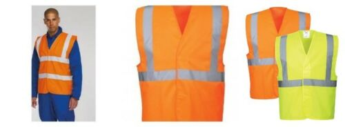 ORANGE KEEP SAFE HI VIZ VIS VISABILITY VEST EN471 WAISTCOAT 1 or 2 BAND YELLOW