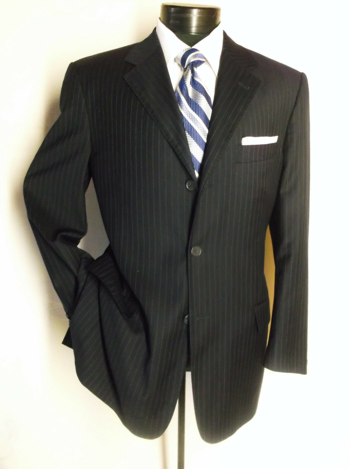 Bernini Suit Navy Blau Striped 3 Button 40S Pants 34 x 25 1/2