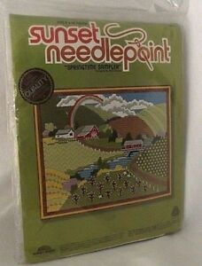 Springtime-Sampler-Sunset-Needlepoint-Shupe-Farm-Country-Kit-Barn-Field-NEW