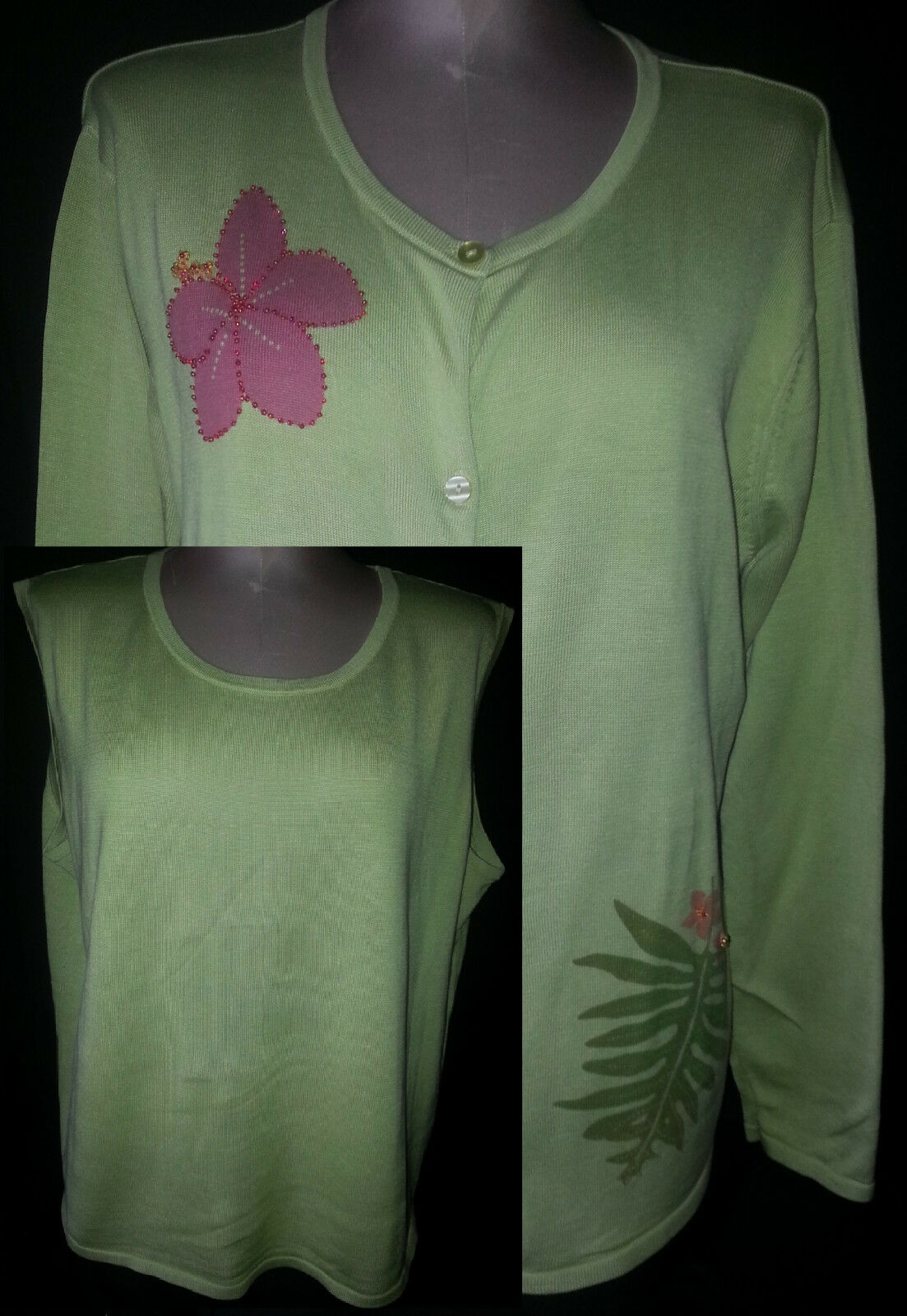 SILK CLUB Womens 2 Piece Cardigan Floral Sweater Blouse Size 2X Green