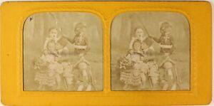 Bambini-Travestito-Artistico-Foto-Stereo-PL54L5n13-Diorama-Vintage-Albumina