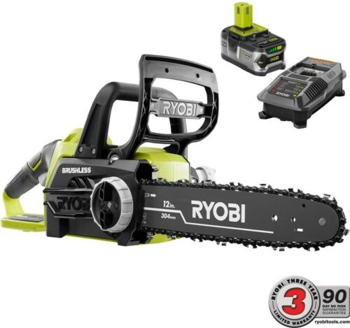 RYOBI ONE 12 in 18 Volt Brushless Lithium Ion Electric Cordless Chainsaw