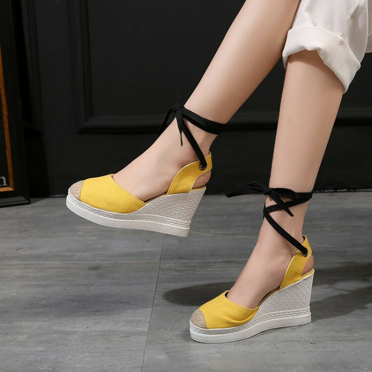Fashion Women's Round Toe Slingback Wedge Platform Sandals Ankle Strap shoes