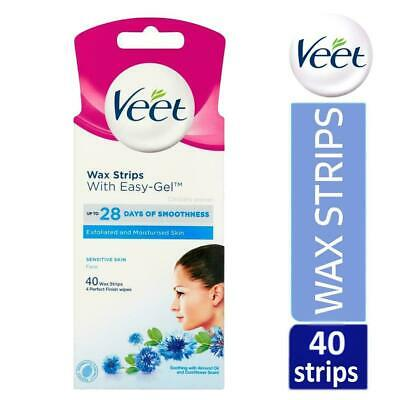 Veet Face Wax With Easy-Gel For Sensitive Skin 20 Strips x 2 Total 40