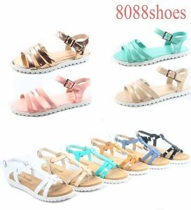 NEW 6 Color Women/'s Cute T-Strap Buckle Flat Slingback Sandal Shoes Size 6-11