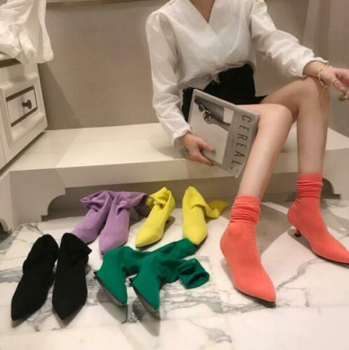 5 Colors Women/'s Stretched Sock Boots Pointy Toe Knitting Heel Shoes Fashion