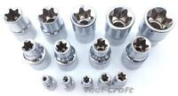 "Yato professional torx sockets 1/2"" & 1/4"" chrome vanadium sizes E4 - E24"