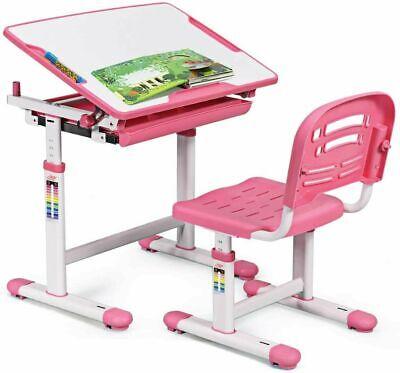 Scrivania Con Sedia Da Studio Per Bambini Regolabile Altezza Inclinabile Rosa H1 | eBay