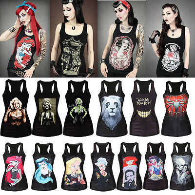 Women Print Stretchy Black Singlet Gothic Racerback Tank Top Vest T-Shirt Blouse