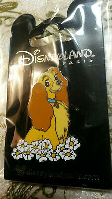DLP Paris Disneyland Lady and the Tramp Puppy Dog Flower DLRP Disney Pin 133594