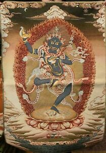 90cm Tibet Cloth Buddhism Silk Hayagriva Buddha Horse Head Thangka Tangka Mural