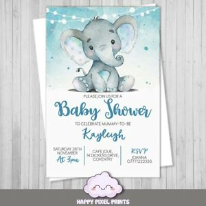 Personalised Baby Shower party Invitations Invites for boy Blue Elephant