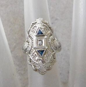 Antique-Estate-14K-White-Gold-Art-Deco-Diamond-Blue-Sapphire-Ring-Sz-5-1-2-RV45