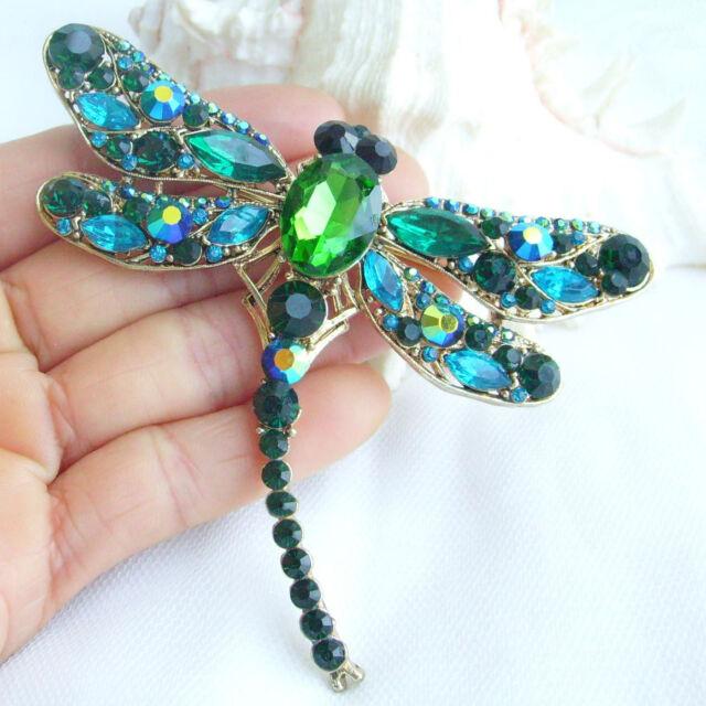 "3.74"" Dragonfly Animal Brooch Pin Pendant Green Rhinestone Crystal 05684C7"