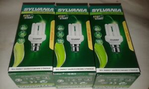 3x Sylvania Mini-Lynx B22 11W 827 Compact Fluorescent Energy Saving Lamp Job Lot