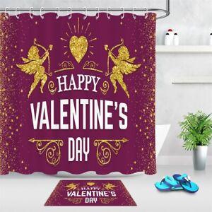 Valentine S Day Gold Cupid Angels Heart Stars Shower Curtain Set Bathroom Decor Ebay