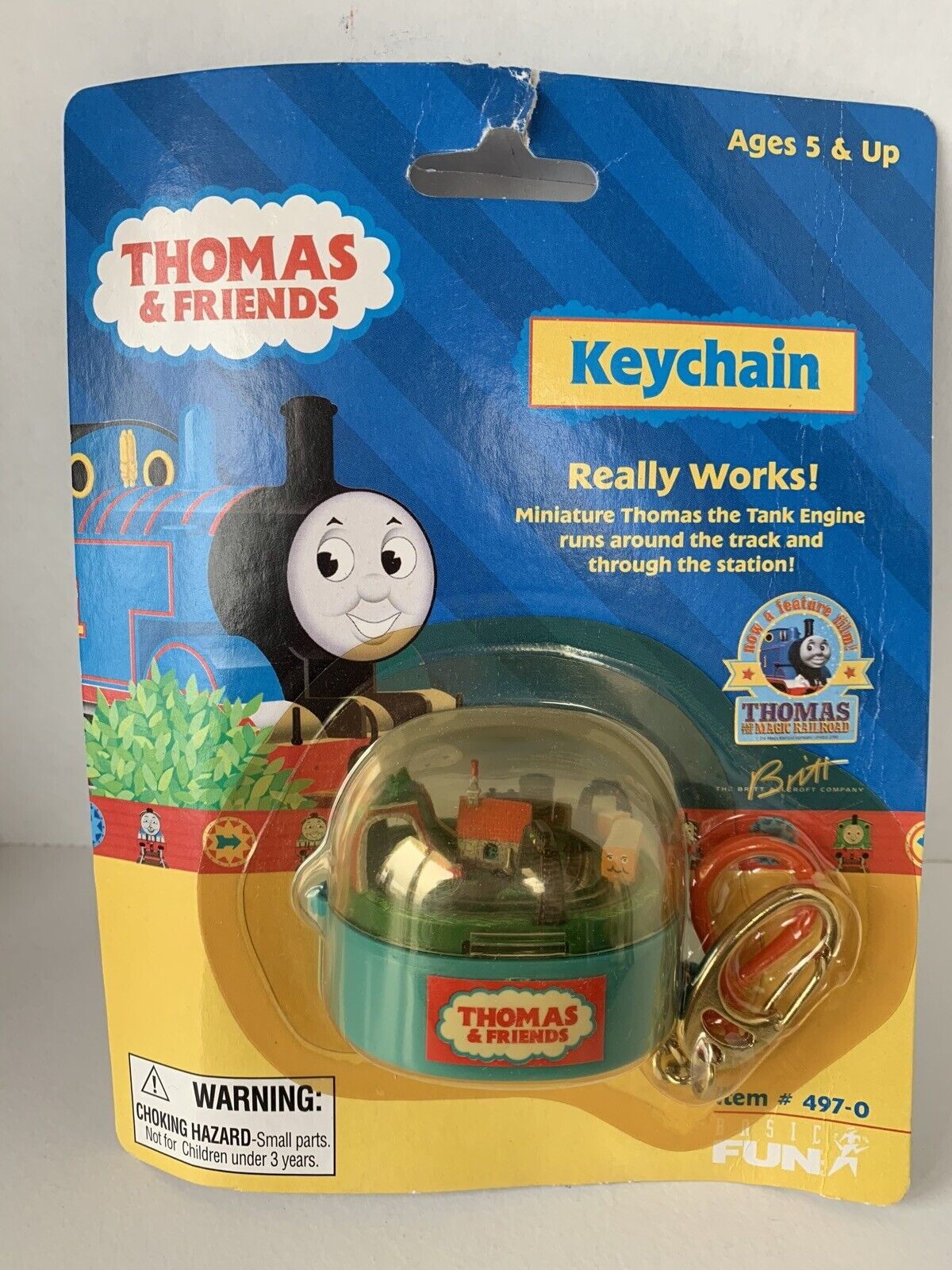 Rare Thomas Train freunde Holzen Railway Keychain Moving mini Train
