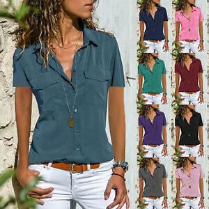 Women-Summer-Short-Sleeve-Blouse-Solid-V-Neck-T-Shirt-Casual-Pockets-Tunic-Tops
