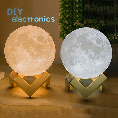 3D LED Magical Moon Night Light Wooden Stent Moonlight Table Desk Moon Base
