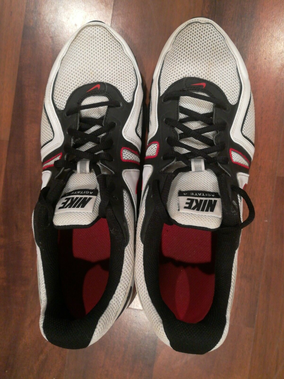 Nike Air Max Agitate 4 Men's Running Shoes Whiteblackred Size 10.5