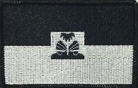 Haiti Flag Iron-on Tactical Patch Black & White Version Black Border 55